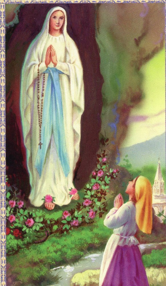 prayer card of Our Lady of Lourdes